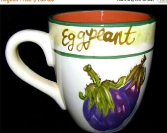 "ON SALE Baum Brothers Style Eyes FRESCO Mercado Collection Mugs Eggplant Dinnerware Mint 4 1/2"""