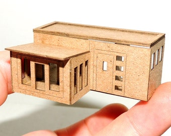 Micro Miniature DOLLHOUSE In 1:144 1/144 and N Scale- Mid Century Modern