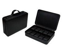 Black Carbon fiber watch box for men travel watches display case organiser briefcase 10 Watches