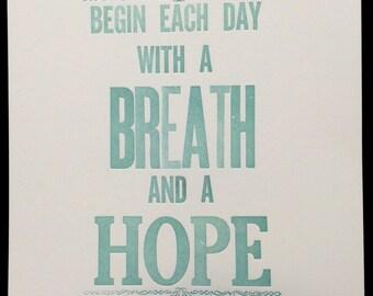 Letterpress Poster Hope For Each Day