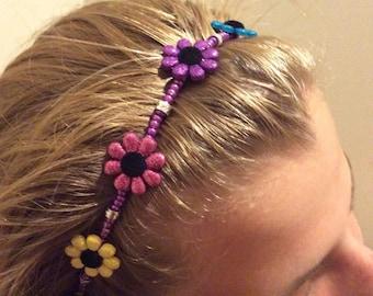 Glitter Flowers Girl's Beaded Headband
