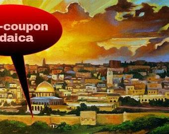 Jewish Art Print/Jerusalem Print/Sunset In Jerusalem/Judaica Art/Israel View/Giclee/Israel/Canvas Print/Landscape/Sunset/Israeli Artist