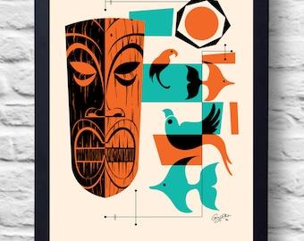 Vintage style 1960s Tiki Print, art, retro painting, gift