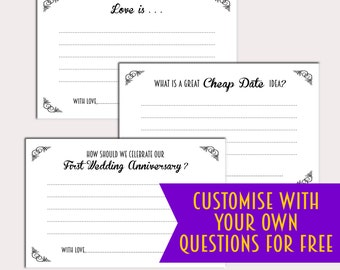 Wedding Advice Card set of 8 questions, custom made to order, custom questions Newlywed Advice Card, Wedding Activity, Guestbook Printable