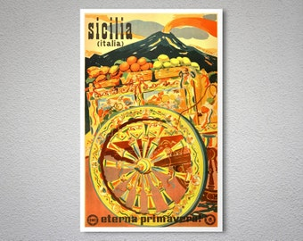Sicilia Italia Vintage Travel Poster, 1947 -  Art Print -  Poster Print, Sticker or Canvas Print