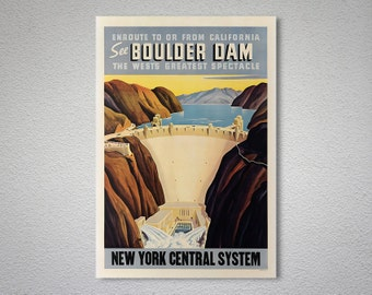 See Boulder Dam, Union Pacific Railroad Travel Poster, Canvas Giclee Print