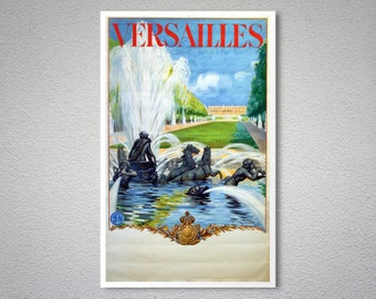 Versailles, France Vintage Travel Poster - Poster Paper, Sticker or Canvas Print