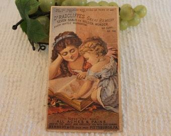 Dr Radcliffe's Great Remedy - Seven Seals & Golden Wonder- Victorian Trade Card