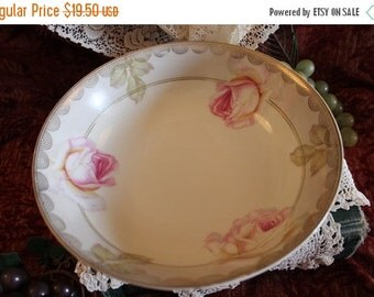 SALE Vintage Porcelain Serving Bowl - Vessra of Germany, Hand painted, Roses