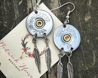 Feather dangle 12GA earrings