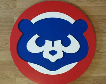 Chicago Cubs (Vintage)....2 sizes....2 feet tall and 3 feet tall....multi layered wooden baseball wall display