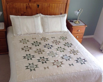 SPOT SALE, Unfinished quilt top, new, handmade patchwork quilt top, ready to be quilted, patchwork, quilt top, ohio star