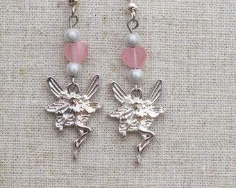 Pink fairy earrings, fairy earrings, pink heart earrings