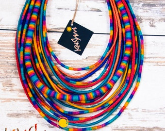 """CLOWN - unique yarn """"Maasai"""" necklace (ethnic, boho, eco, folk, hippie)"""