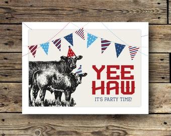 Printable Birthday Invitation - Yee Haw - Farm Birthday Party - Black Angus