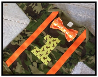 Baby Boys First Birthday Outfit -Camo Deer - Baby Boy Clothes - Boys First Birthday Shirt - Camo Orange Deer Bow Tie - Baby Boy 1st Birthday
