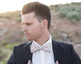 Bow Tie, Pink & Brown Plaid Men's Bow Tie