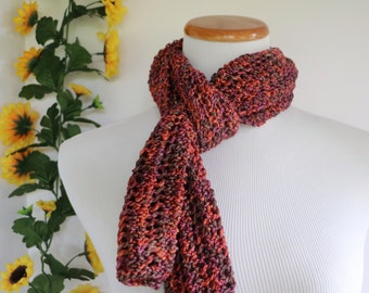 Open work autumn scarf, red gray purple knit scarf, silky soft sparkly scarf