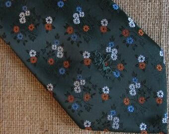 Vintage Schiappareli Tie Green Floral Silk Necktie