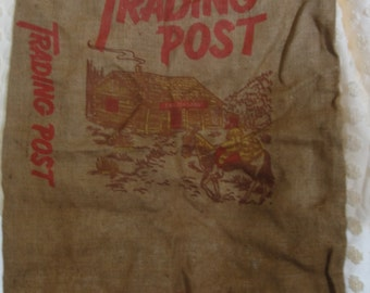 Vintage Trading Post/ Cabin/Mountain Man/ Burlap Bag/Greeley Co.