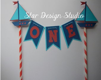 Nautical Boat  Cake Topper  Birthday bunting-  Anchor