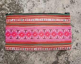 Hmong Pouch, small purse, organizer, clutch, thai cotton, embroided, ethnic, boho, bohochic, hippie, tribal, travel, unique, pink, handmade