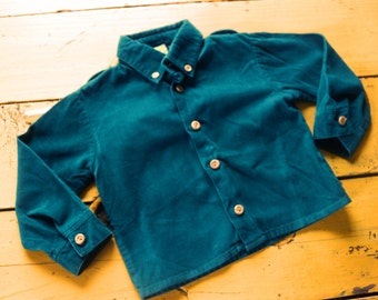 Vintage BABY BOY Size 18 Months Long Sleeved Teal Corduroy Shirt, vintage baby boy 18 months, vintage shirt 18 months, retro baby boy shirt