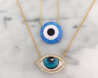 Sterling silver 18k gold plated evil eye, nazar necklaces with cz stones and opal