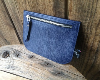 "Pouch ""Pauline"" blue cow leather grained"