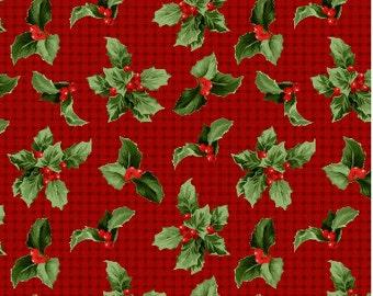 Crimson and Holly, by Wilmingtonprints, Red and Black Plaid Christmas Fabric With Green Holly, Fabric by the Yard, Cut from the Bolt