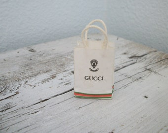 Vintage Miniature Dollhouse Gucci Paper Shopping Bag Folding Rope Handles 1:12 scale Rare Find Free Shipping W/Other Item Purchased
