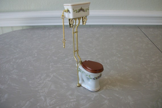 Dollhouse Miniature High Tank Pull Chain Toilet Vintage