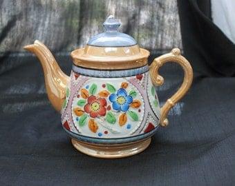 Lusterware Floral Teapot Japan