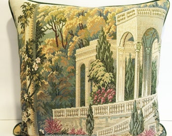 Vintage Italian Tapestry Pillow-104  Free shipping,free down feather insert.