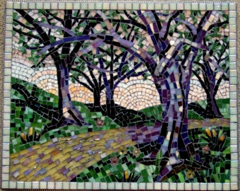 Handcut Stained Glass Mosaic Landscape