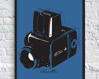 Hasselblad 500 Vintage Camera Inspired Poster - A4 - Retro Camera Poster