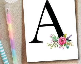 Floral Monochrome Alphabet Letter Card