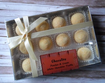 Gift Box of 12 Peaches & Cream White Chocolate Truffles - Personalised Gift Box