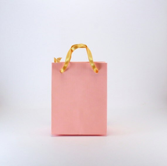 Wedding Gift Bags With Handles : Small Gift Bags -Pink Party Favor Bags w/ GOLD satin ribbon handles ...