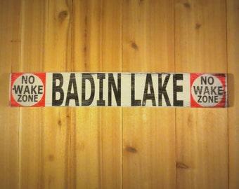 Custom Lake No Wake Zone Vintage Styled Wood Sign