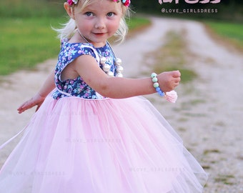 New Floral Princess Tulle Dress, baby tulle dress, Light pink dress