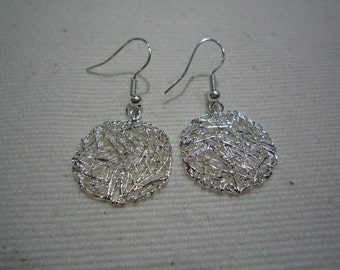 Quirky silver drop tangled  disc earrings