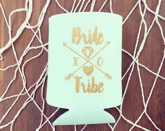 Mint Bride Tribe Drink Coolers | Boho Bachelorette Party Favors, Mint + Gold Arrow Bride Tribe Drink Cooler Favors, Beer Bottle Can Coolers