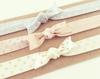 Soft Metallic Knot Bow Headband Set | Silver + Gold Polka Dot Elastic Headbands for Baby Toddler Girls, Simple Neutral Newborn Headbands