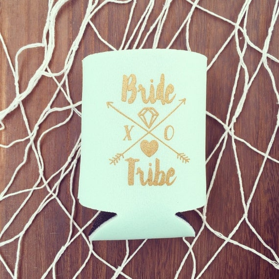 NEW! Mint Bride Tribe Drink Coolers | Boho Bachelorette Party Favors, Mint + Gold Arrow Bride Tribe Can Cooler Favors, Beer Bottle Coolers