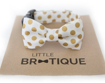 Gold Polka Dot Dog Bow Tie. Ships 3-5 business days after you order