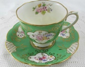 Green Royal Albert Crown China Tea Cup and Saucer