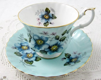 Royal Albert Blue Tea Cup and Saucer with Blue Flowers, Vintage Bone China