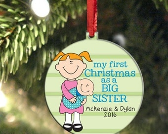 New Sister Ornament, Big Sister Holiday Christmas Ornament, Customized and Personalized, Sibling Ornament
