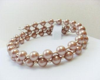 Swarovski Almond Pearl Memory Wire Bracelet, birthday, anniversary, christmas gift